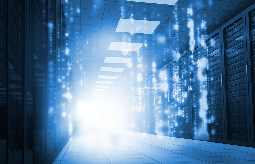 Glowing blue matrix falling in data center.jpeg